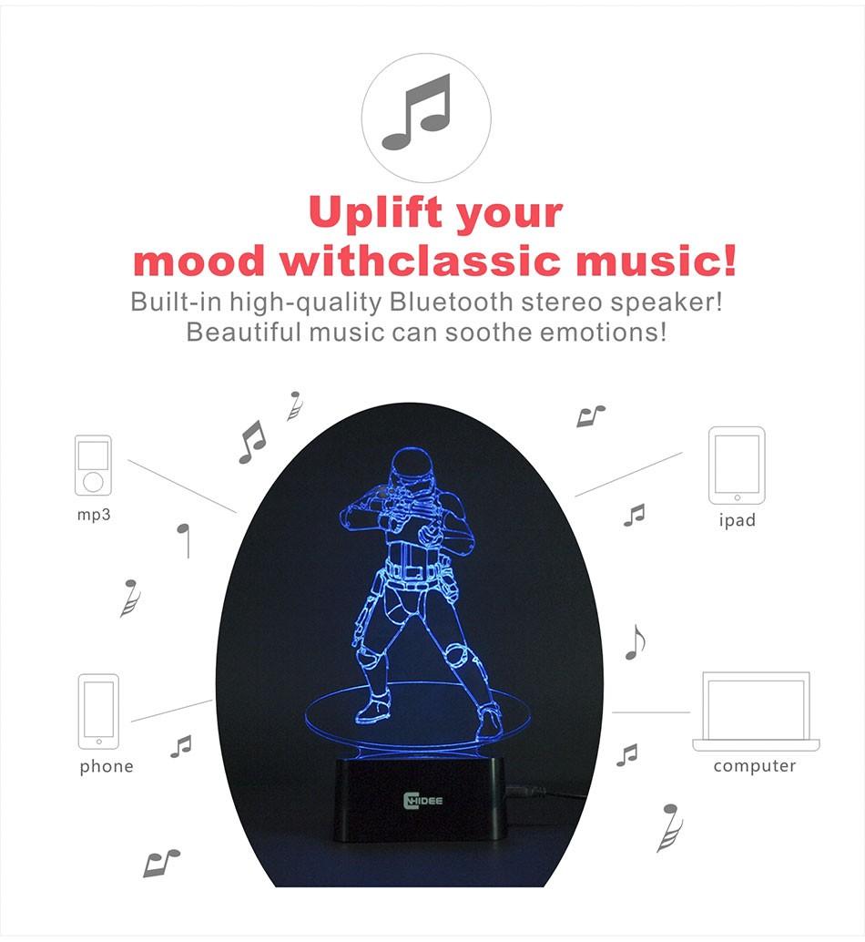 CNHIDEE USB Novelty Star Wars Bluetooth Music Desk Lampara 3D Stormtrooper Bulbing Led Luz de Noche Engraving Night Light Decor as Creative Gifs  (3)