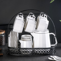Ceramic Coffee Set Europe Large Capacity Cold Water Coffee Pot with Rack Procelain Coffee Cup Set Sugar Milk Tank Mug