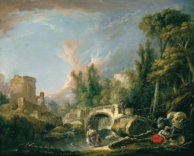 francois boucher river landscape with ruin and bridge boucher halloween wall mural patterns decor paintings modern - Halloween Wall Mural