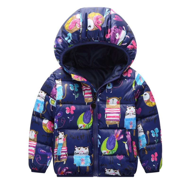 2017 Boys Girls Winter Outerwear Cotton Hooded Baby Padded Jacket Kids Coat Children's Clothing Thick Down & Parkas Fit 2-7 yrs children winter coats jacket baby boys warm outerwear thickening outdoors kids snow proof coat parkas cotton padded clothes
