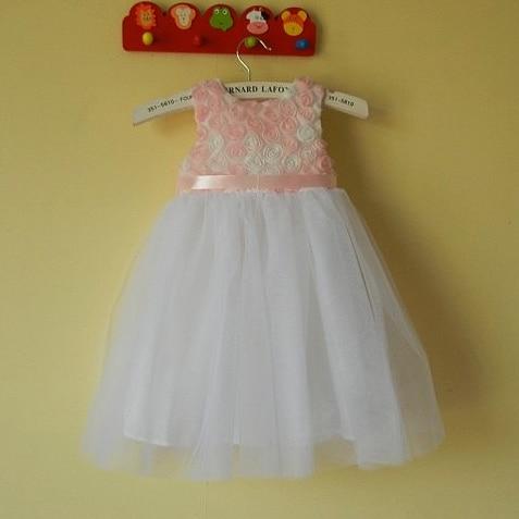 3 4y Filles Rose Blanc Rose Dentelle Fleur Robe Bebe Princesse