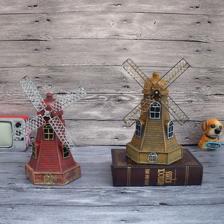 2016 Bar/Cafe/office/Home Creative Decoration (2 colors available) Retro windmill Piggy Bank Safing Money Box birthday present