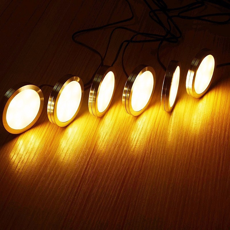 Trim To Hide Undercabinet Lights: Under Cabinet LED Puck Lights Kit White Trim With 12V Dial