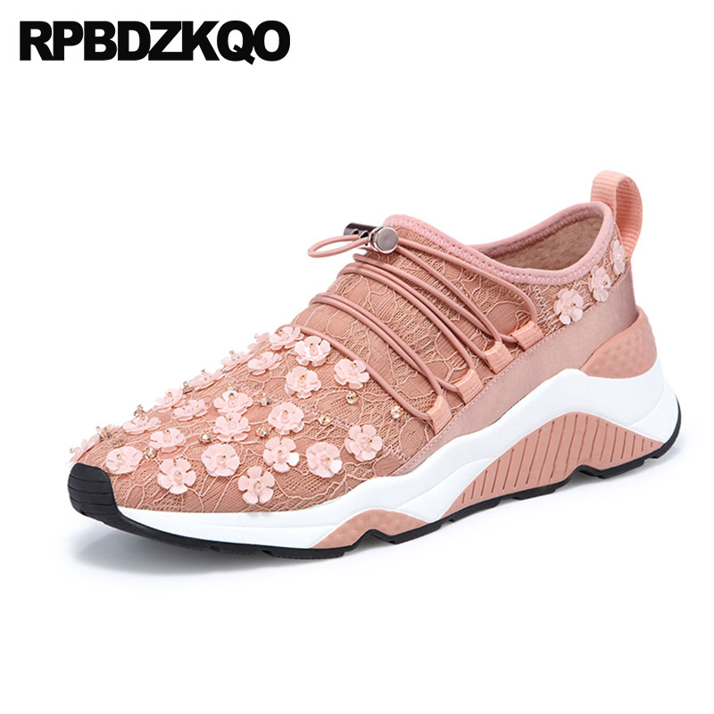 Sneakers Breathable Floral Mesh Slip Resistant Flower Brand Lace Thick Sole Trainers Up Rhinestone Designer Shoes Women Luxury swyivy women sports shoes anti slip thick sole running shoes 2018 summer mesh breathable lace up female sneakers comfortable