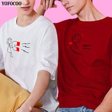 YOFOCOO Lovers Attraction Couple O-Neck T-Shirt Women Men Valentines Gift Printing Summer Matching Clothes for