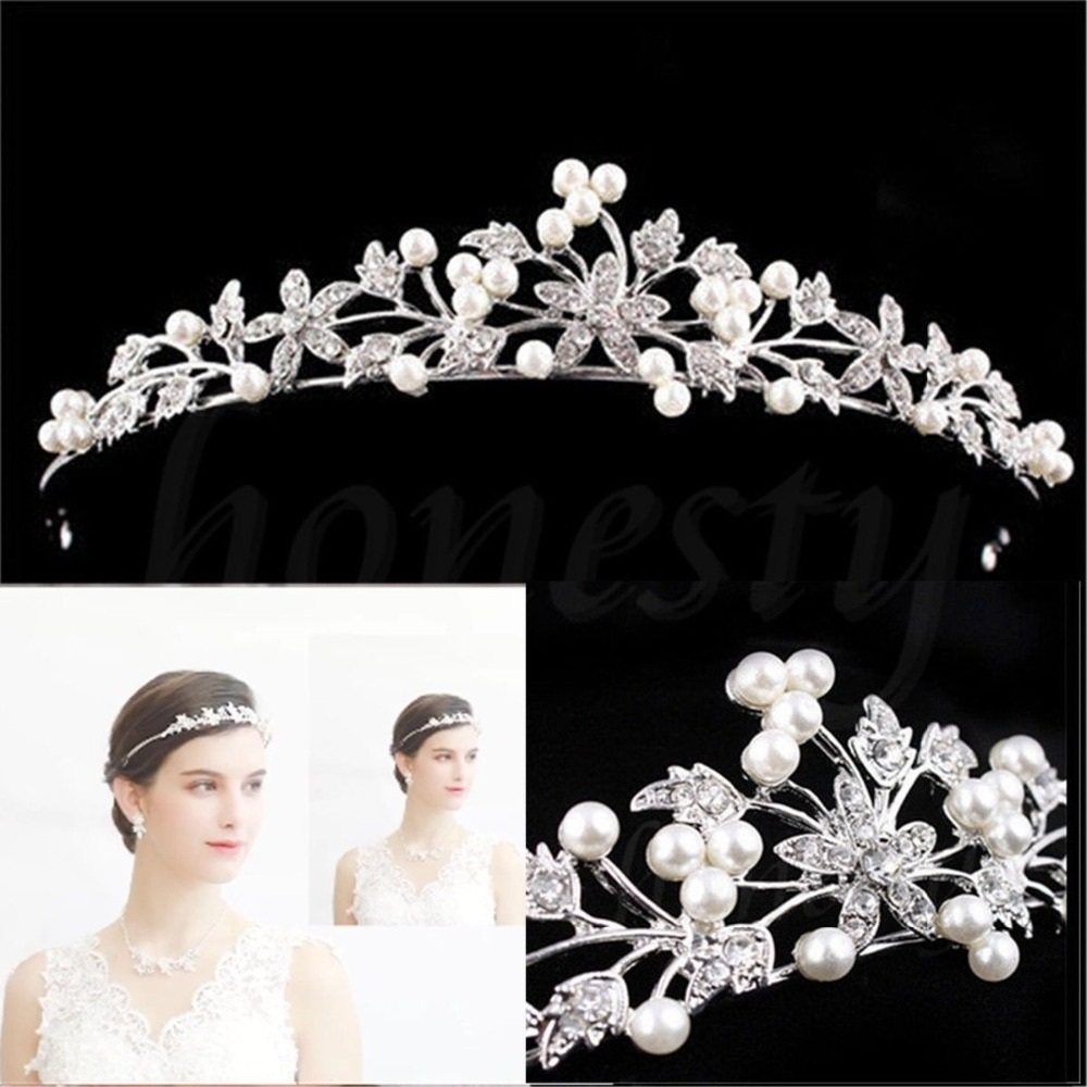Princess Wedding Rhinestone Crystal Flower Hair Band Tiara Headband
