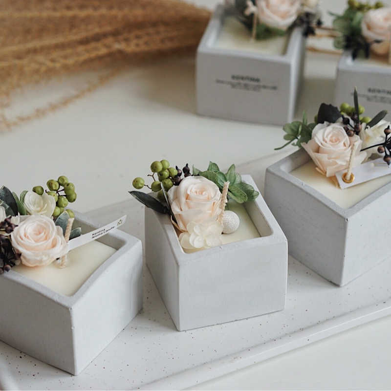 Square Shape Flowerpot Concrete Silicone Mold DIY Gypsum Plaster Mould Candle Holder Candlestick Cement Clay Molds
