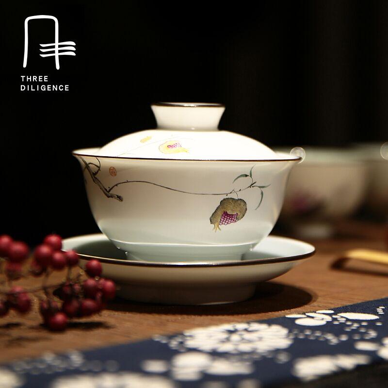 170 мл Gaiwan Чай комплект Керамика Чай чашу Цзиндэчжэнь обтянутый китайский фарфор Чай чашки Чашки и блюдце Рождественский подарок Рождество