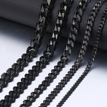 "Personalized Men's Necklace Stainless Steel Cuban Link Chain Black Silver Gold Necklaces For Men 18-36"" Hip Hop Jewelry KNM09(Hong Kong,China)"