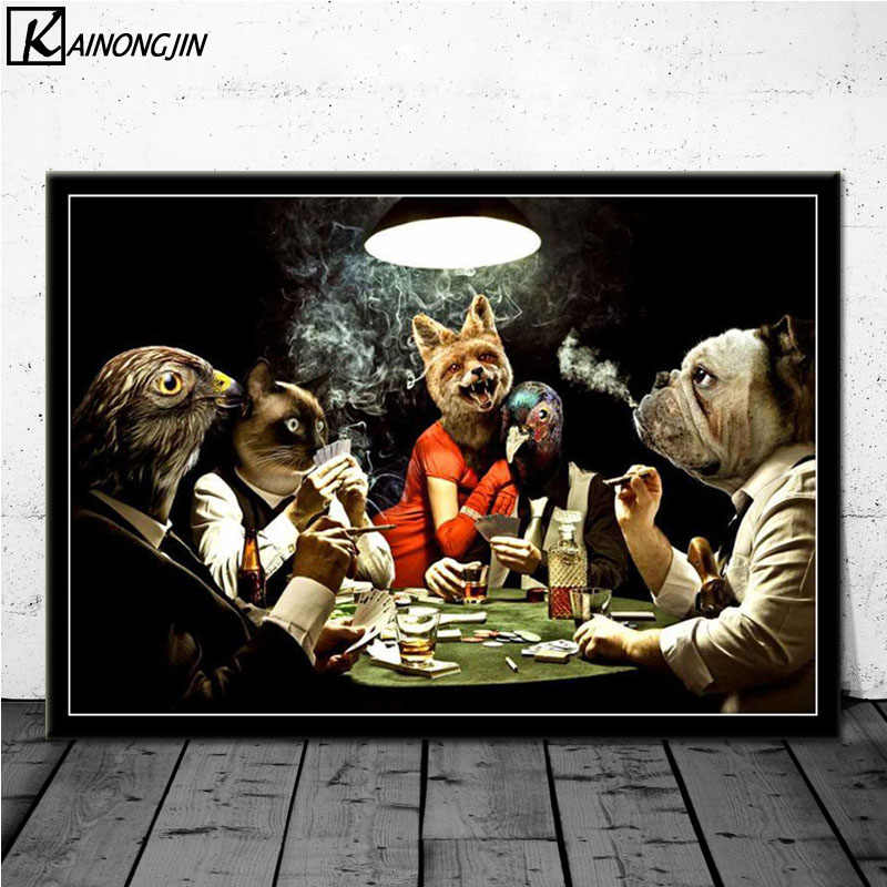 Poster Anjing Bermain Poker Kucing Lucu Gaya Poster Dan Cetakan Kanvas Lukisan Dinding Seni Gambar Untuk Ruang Tamu Dekorasi Rumah Painting Calligraphy Aliexpress