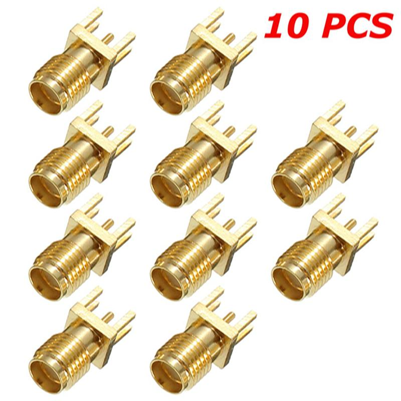 10Pcs 1.2mm SMA Female Jack Adapter Solder Edge PCB Straight Mount RF Copper Connector Plug Socket