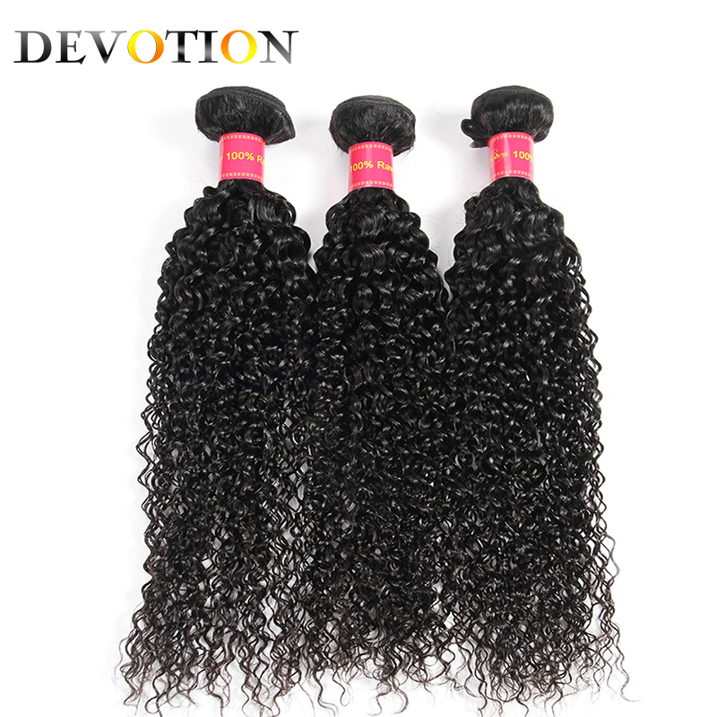 Devotion Raw Brazilian Hair Kinky Curly 3 Bundles Human Hair Weave Bundles Natural Color Hair Extensions Curly Hair 8-26 inch