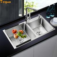 Poly 304 Stainless Steel Sink Imitation Handmade Double Slot Package Thickened One Stretch Basin Kitchen