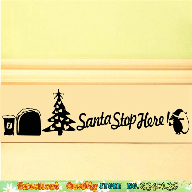 Santa Christmas Tree Wall Stickers 3D Mouse Hole Wall Art Decals ...