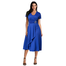 Large Size Dress Women Plus Summer Sexy Asymmetric Hem V-Neck Ruffled Short Sleeve V Neck Midi sss