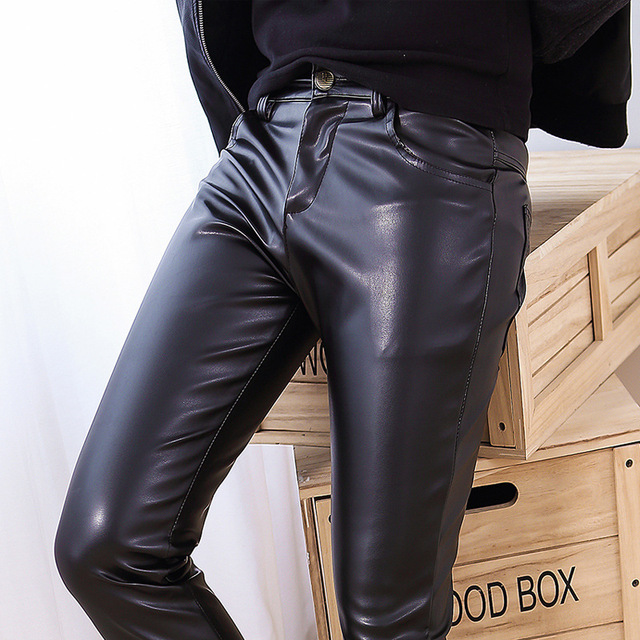The new elastic PU men 's leather trousers whole skin tights pants washed PU leather trousers men feet trousers YF144