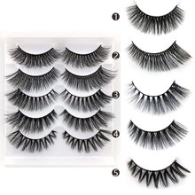 NEW Mix 5 Pairs 3D Mink Hair False Eyelashes Criss-cross Wispy Cross Fluffy Lashes Extension Handmade Eye Makeup Tools