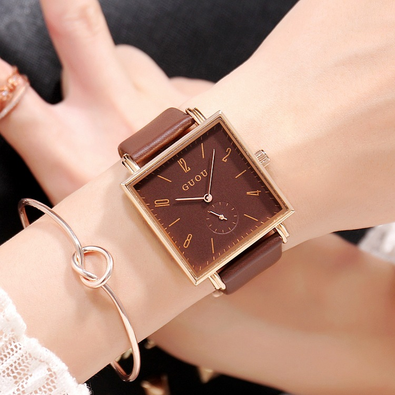 Fashion 36MM Brown Square Dial Ladies Watch Simple Female Watch Digital Scale Leather Strap Quartz Women