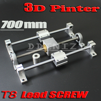 HOT sale 3D Printer guide rail sets T8 Lead screw length 700mm + linear shaft 8*700mm + KP08 SK8 SC8UU+ nut housing +coupling