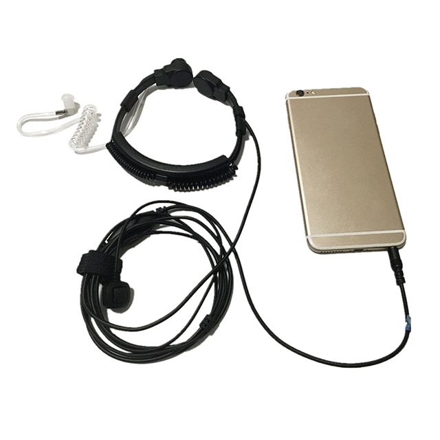 HFES New Flexible Throat Mic jack 3.5mm Microphone Covert Acoustic Tube Earpiece Headset for Iphone android moblie phone