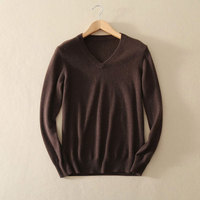 New Fashion 100% Pure Cashmere Autumn Pullovers Sweater Men 2017 V Neck Long Sleeves Knitted Male Jumper Casual Free Shipping