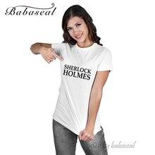 Babaseal Top Brand T Shirt Tee Femme Tumblr Sweet T Shirt Sherlock Holmes Love Pink Funny T-shirts Kawaii Tshirt Blusa Renda