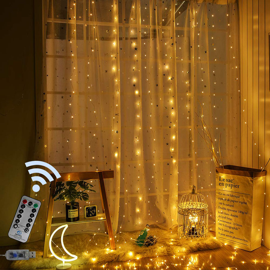 Remote Control 3x2M/3x3M USB Copper Wire Led Curtain Fairy String Light Outdoor Garden Christmas Wedding Party Curtain Light
