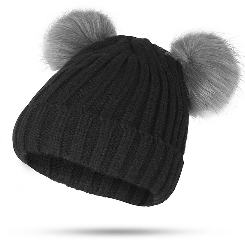 e53293f702b Aliexpress.com   Buy Winter Fur Ball Cap 2 Pom Poms Winter Hat For Women  Girl  S Hat Knitted Cotton Pom Poms Skullies Beanies Thick Female Warm Hat  from ...