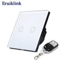EU UK Standard Touch Switch 1 2 3 Gang 1 Way White Glass Panel Light Wireless