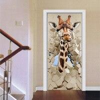funlife Imitation 3D Giraffe Break Through the Door Creative Wall Sticker Living Room Bedroom Wall Decoration Pvc Door Stickers