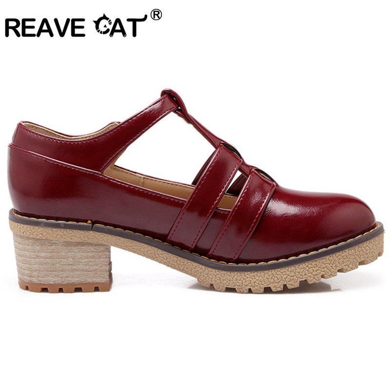 Color Cat 43 T Moda Elegante Sapatos Reave Zapatos Plataforma Grande Talón Correa Causa black red Tamaño Femininos Mujeres Primavera Mediados 34 Beige Sandalia 3 Rnfx4nq