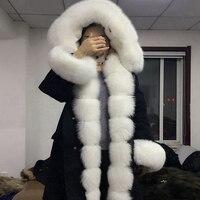 2018 натуральное пальто с лисьим мехом воротник кроличья шерсть подкладка фракция оверсайз лисий мех подклад куртки Белый Лисий Мех Воротник