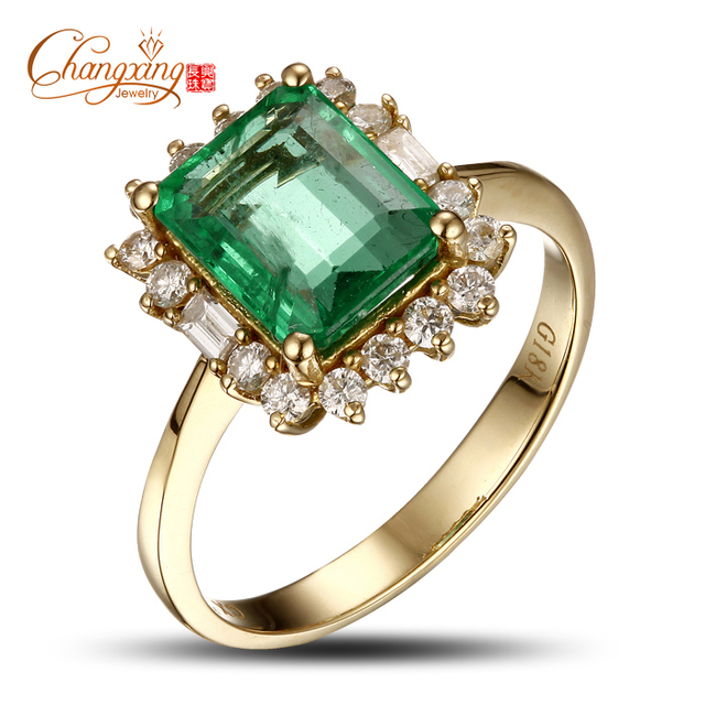 18 k Oro 2.47ctw Natural Colombia Esmeralda Diamante Anillo de Compromiso Gorgeous