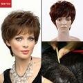 Новое поступление пушистый руки связали Glueless полные человеческие волосы парики-полное смешанный короткие скручиваемость человеческие волосы парики для женщин антибиоз Cap