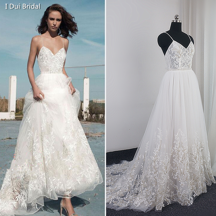 Spaghetti Strap Lace Wedding Dress High Quality Boho
