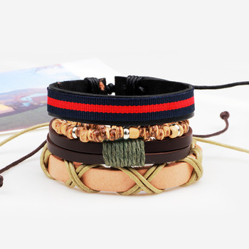 3,4,5pcs/set Series Boho Gypsy Hippie Punk Leather Wooden Beads Layers Bracelets 1
