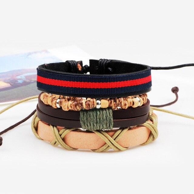 3,4,5pcs/set Series Boho Gypsy Hippie Punk Leather Wooden Beads Layers Bracelets 1