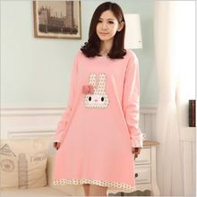 Knitted Cotton Nightgowns & Sleepshirts cartoon night suit clothes women female girl cute animal rabit sleepwear