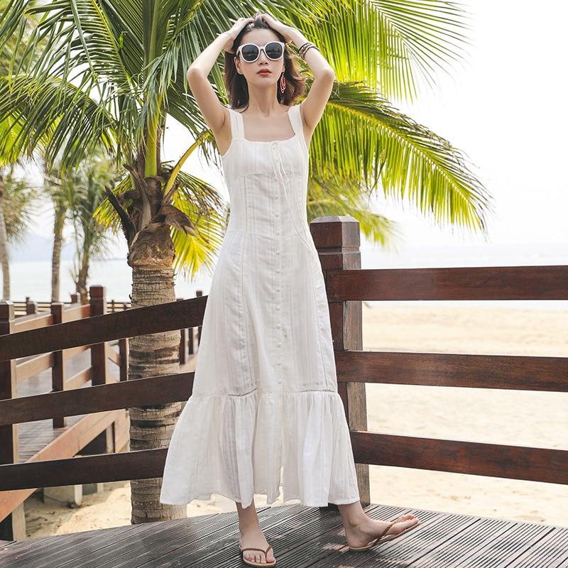 2018 Di Delle Femmina Donne Sexy Vacation Del New Il Scava Beach Vestido Maxi Fuori Cinghia Sottile Bianco Elegante Long Vestito Dress Estate Progettista YqWOYF8aU0