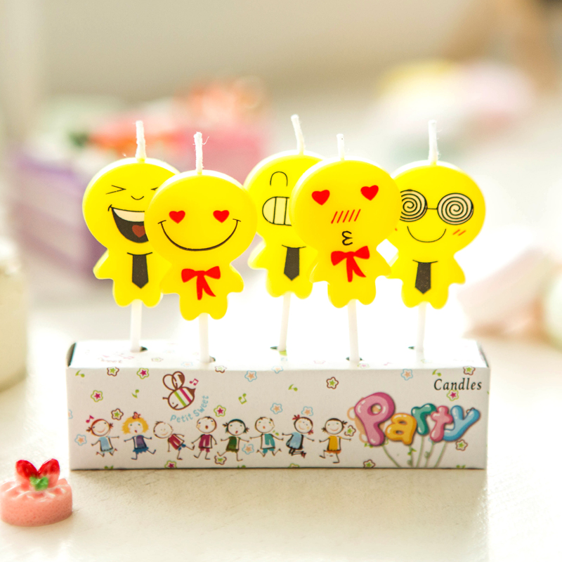 5pcs/lot Funny Smiling Faces Happy Birthday Cake Topper