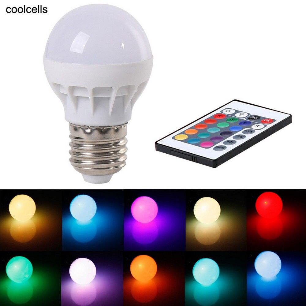 New 3W E27 AC 85-265V RGB LED Light Bulb Lamp Color Changing Or IR Remote Control Pop