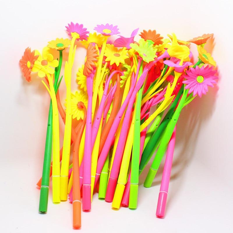 10Pcs/lot Fashion Flower Cute Gel Pen Stationery Store Kawaii Escritorio Roller Ball Stationary School Material Thing Item Shop