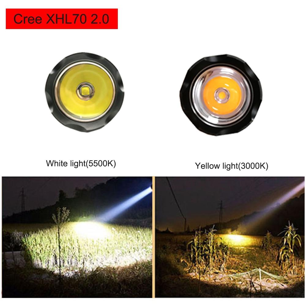 XHP70.2 LED Diving Flashlight Tactical 26650 Torch Yellow/White Light 4000 Lumen Underwater 100M Waterproof XHP70 dive lamp