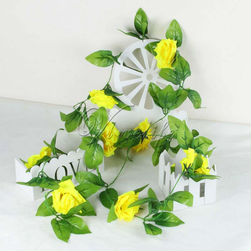 2.2m 5Pcs Artificial Flowers Silk Flower Rose Ivy Vine Hanging Planter For  Wedding Party Garland Flowers Home Decor 9 Colors