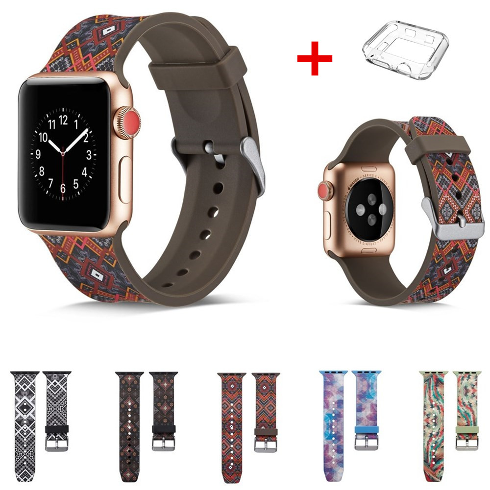 case+strap sport silicone for apple watch band 42mm 38mm iwatch series 4 3 2 1 watchband printing rubber bracelet accessories sport loop for apple watch band case 42mm 38mm nylon watch strap bracelet with metal frame protector case cover for iwatch 3 2 1