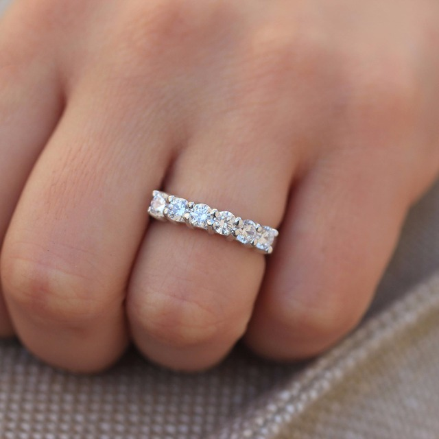 533dcaefd3f 1.2ctw 3.5mm DF Round Cut Engagement Wedding Moissanite Lab Grown Diamond  Band Ring Solid Genuine 14K 585 White Gold for Women-in Rings from Jewelry  ...