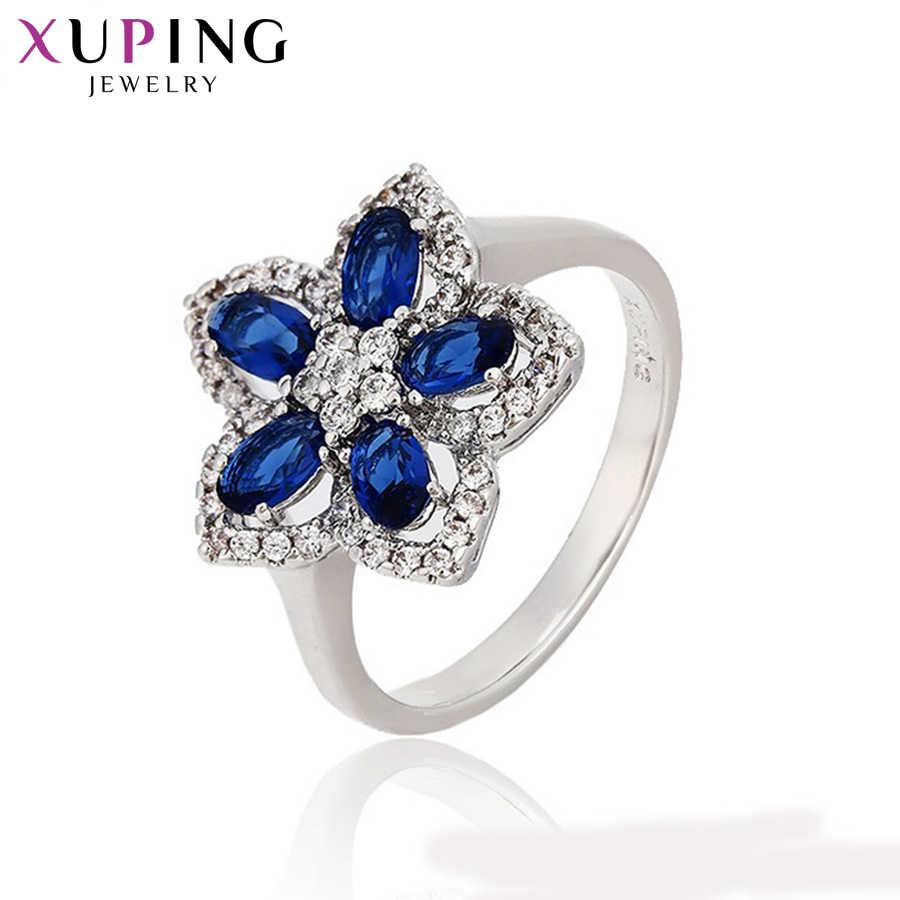 Xuping Luxus Ring Neue Design für Frauen Platte Blau Schmuck Ring Charming Stil Weihnachten Party Geschenk 12795