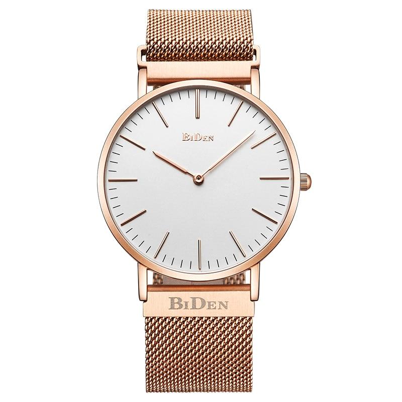 BIDEN Sport Casual Quartz Watch Men Luxury Stainless Steel Mesh Band Simple Stylish Dial Men Women Watches Gifts clock saat