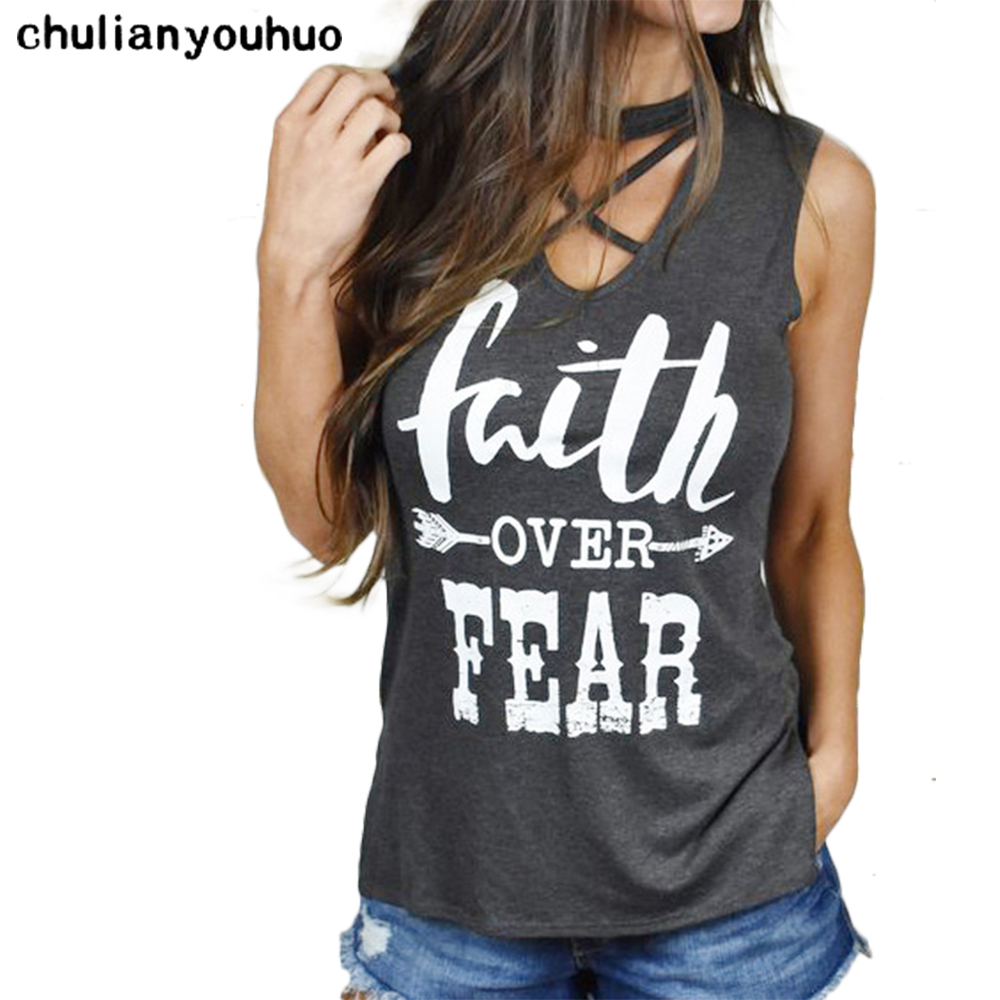 Chulianyouhuo Faith Over Fear Arrow Letter Print T-Shirts Women 2017 Fashion Casual V-Neck Sleeveless T-Shirt Tops bts Harajuku