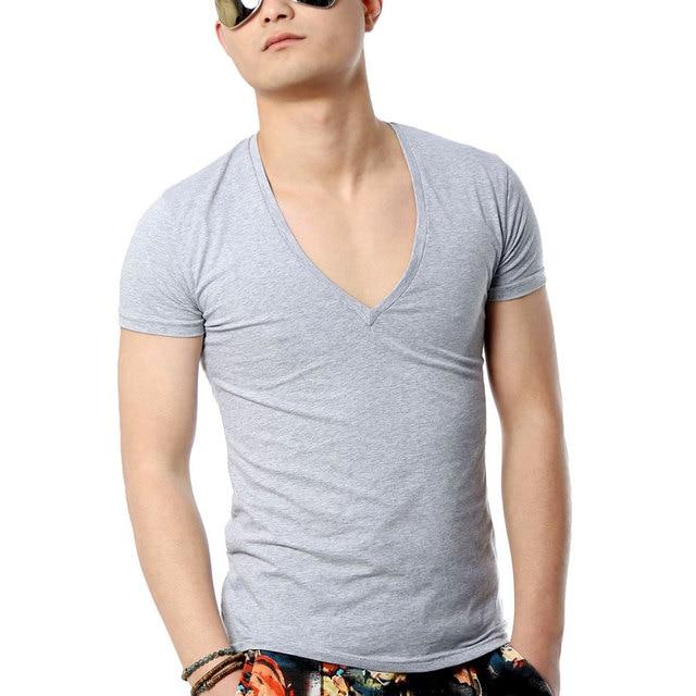 ef9b50d01d29 Zecmos Deep V Neck Sexy Men T-Shirt Vintage Short Sleeve Solid Color Muscle  Fit